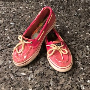 Pink glitter sperry top-siders
